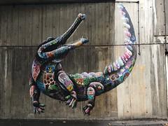 Crocodile street art by Louis Masai