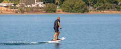 Jet Surf (Jetsurf) or Fliteboard - Electric Hydrofoil Surfboard in Haven marina of Phuket island, Thailand