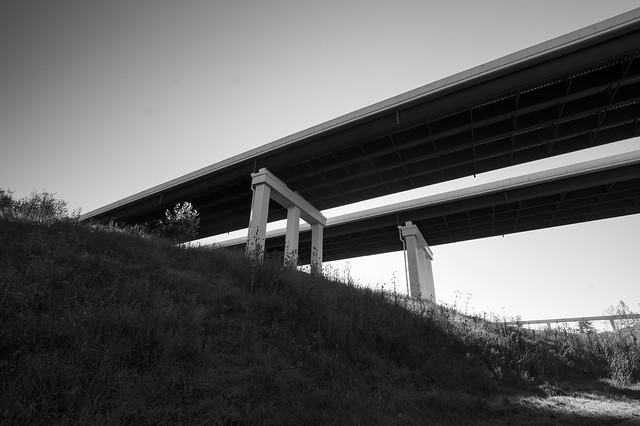 Bridges over the Cuyahoga River bw