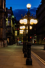 Victorian street lamps at night