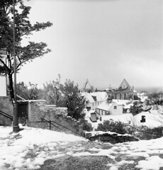 Visby medieval town in snow, Gotland, Sweden