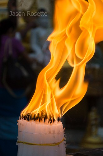 Bundle of Burning Candles at Shwedagon Pagoda, Yangon #2
