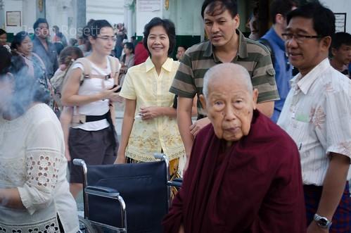 Elderly Nun and Supporters at Shwedagon Pagoda, Myanmar