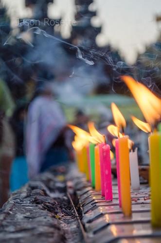 Row of Colorful Candles at Shwedagon Pagoda, Burma #2