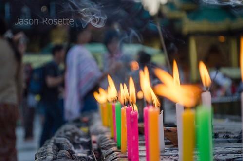 Row of Colorful Candles at Shwedagon Pagoda, Burma (horizontal)