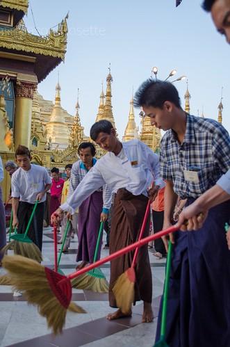 Burmese Youth Sweeping the Grounds of Shwedagon Pagoda, Myanmar