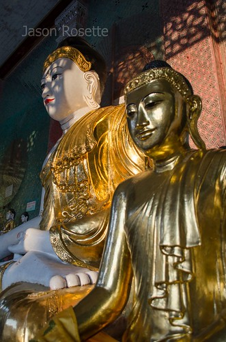 Highly Polished Golden Buddha with Larger Buddha, Yangon, Myanmar