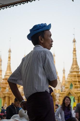Burmese Man at Shwedagon Pagoda