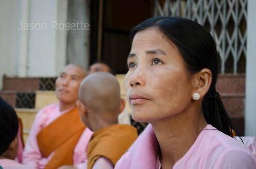 Woman Worshipping at Shwedagoon Pagoda, Myanmar