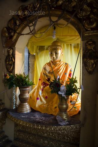 Serene Golden Burmese Buddha, Shwedagon Pagoda