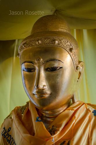 Serene Face of a Golden Burmese Buddha, Shwedagon Pagoda