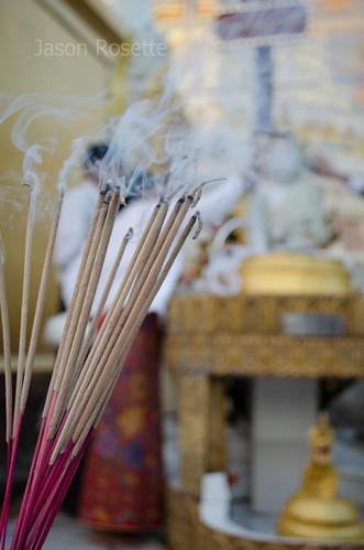 Close up Smoking Incense, Shwedagon Pagoda, Myanmar