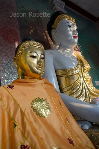 Golden Buddha in Foreground with White Buddha Behind, Burma (wider)