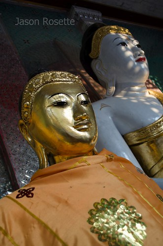 Golden Buddha in Foreground with White Buddha Behind, Burma