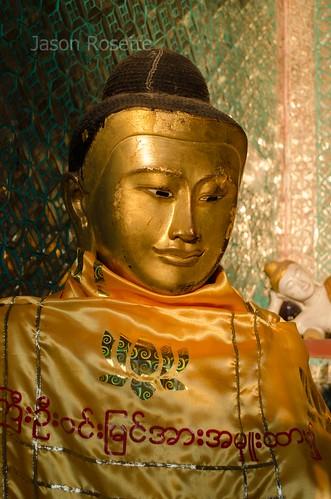 Golden Buddha with Burmese Script on it Cloak