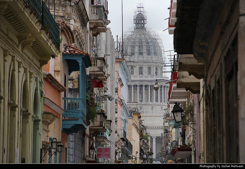 View along Teniente Rey towards El Capitolio, Havana, Cuba