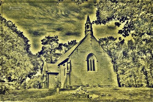 Holy Trinity Anglican Church, Berrima NSW Australia in duotone