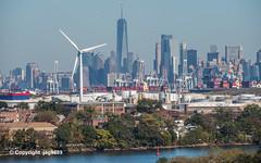 Bayonne Windmill and Lower Manhattan Skyline
