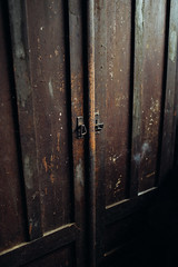 Details of an old and rustic wardrobe