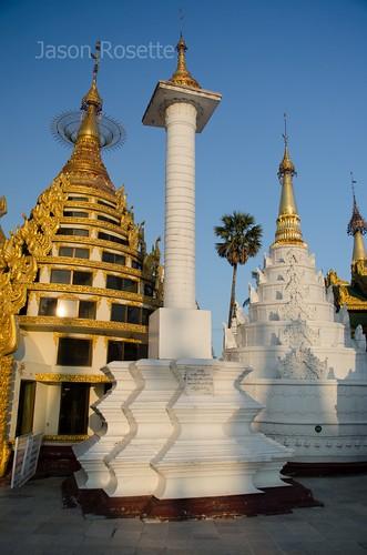 Abstract Stupas at Shwedagon Pagoda, Burma