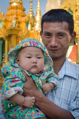 Chubby Baby and Guardian, Shwedagon Pagoda, Burma