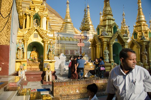Visitor at Shwedagon Pagoda, Rangoon, Myanmar (wider)