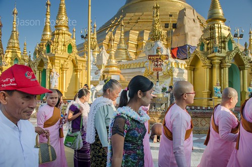 Nuns and Visitors File Past the Main Shwedagon Pagoda