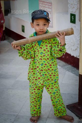 Boy with Wooden Bell Hammer, Shwedagon Pagoda, Burma