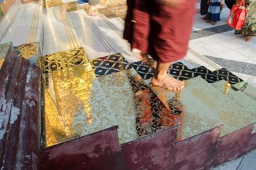 Monk's Feet on Mirrored Steps at Shwedagon Pagoda, Burma