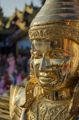 Close up Golden Buddha Face at Shwedagon Pagoda
