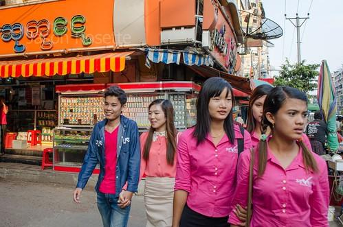 Street Corner in  Rangoon, Burma: Co-workers from 7-Mart