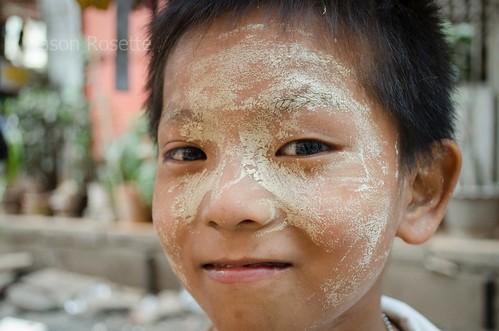 Close up of Burmese Boy's Face, Downtown Rangoon