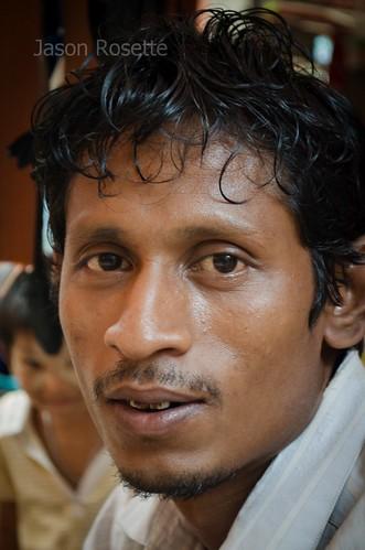 Extreme Close Up: Belt Seller, Downtown Rangoon, Burma
