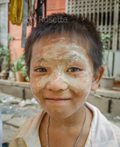 Close up of Burmese Boy's Face, Downtown Rangoon (vertical)