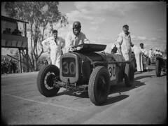 Bill Conoulty and his Austin 7 Comet, Grand Prix, Bathurst, October 1946