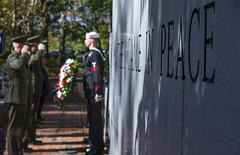 Sailors and Marines observe the anniversary of the terrorist attacks at the U.S. Marine Barracks in Beirut, Lebanon and Operation Urgent Fury in Grenada.