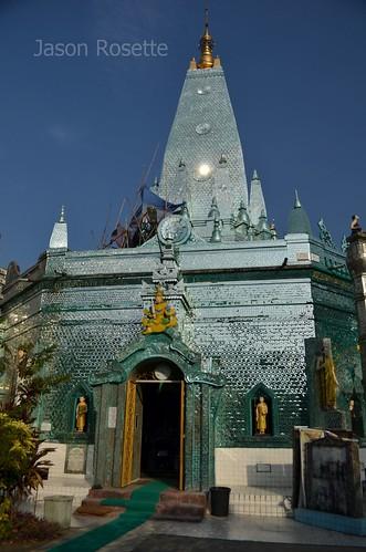 Wide Exterior of Mirror Clad Temple, Rangoon, Burma
