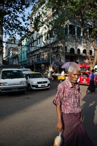 Man Wanders Away, Downtown Rangoon, Burma