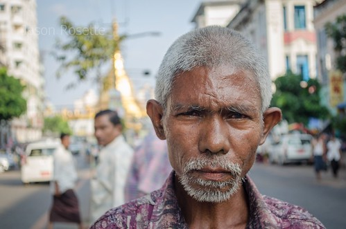 Portrait of a Man, Downtown Yangon Burma - Close Up