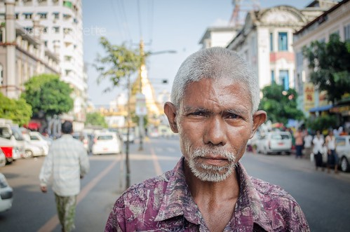 Portrait of a Man, Downtown Yangon Burma (Medium CloseUp)