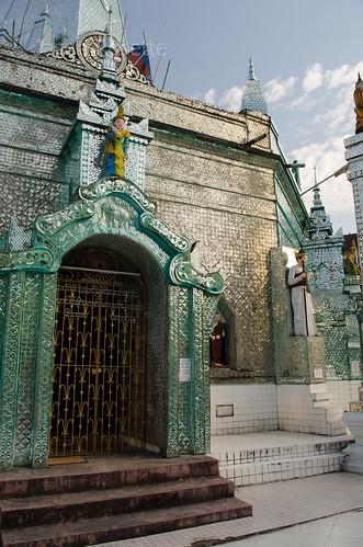 Ornate Front Doorway of Mirror Temple, Yangon, Myanmar