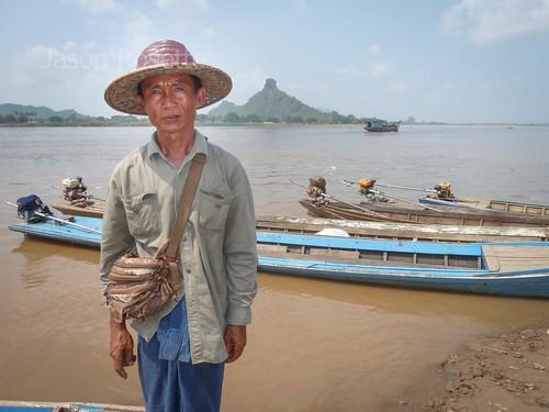 Boatman in Hpa An, Burma