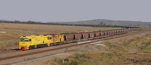 5028 & 5038 AURIZON LOADED COAL FROM WAMBO MINE, WHITTINGHAM 25th Oct 2019.