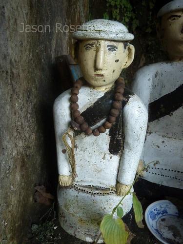 Close up of Local Deity Figure in an Outdoor Shrine, Burma