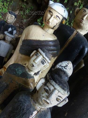 Several Local Deities at an Outdoor Shrine, Burma