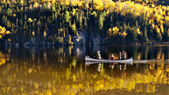 Canoeing through fall's colors