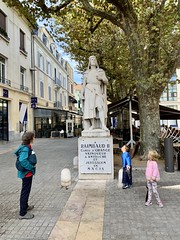 Ruth and the twins at the town center of Orange, a city originally founded by retired soldiers from Caesar's Second  Legion