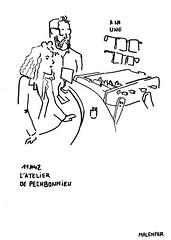 l'atelier de Pechbonnieu, dessin Frédéric Malenfer