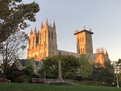 Washington National Cathedral, setting sun, from Pilgrim Road NW, Washington, D.C.