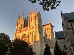 Setting sun lighting up National Cathedral, Washington, D.C.